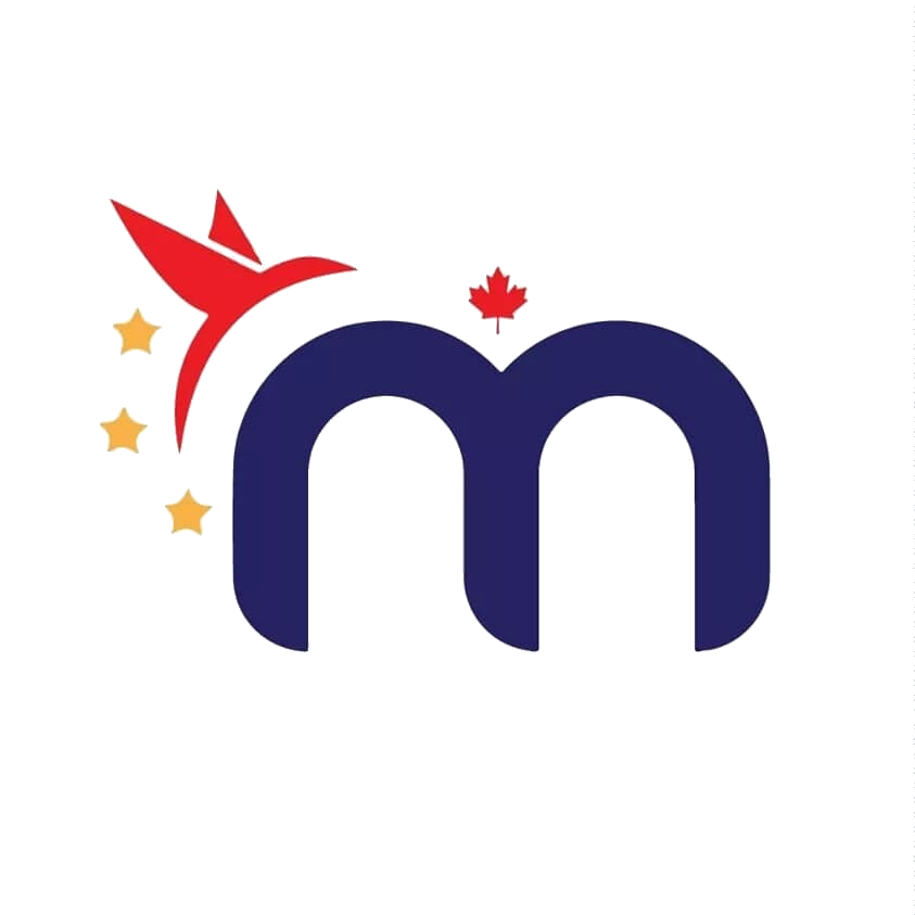 Malaya Canada logo: M with three yellow stars, red bird, and red maple leaf