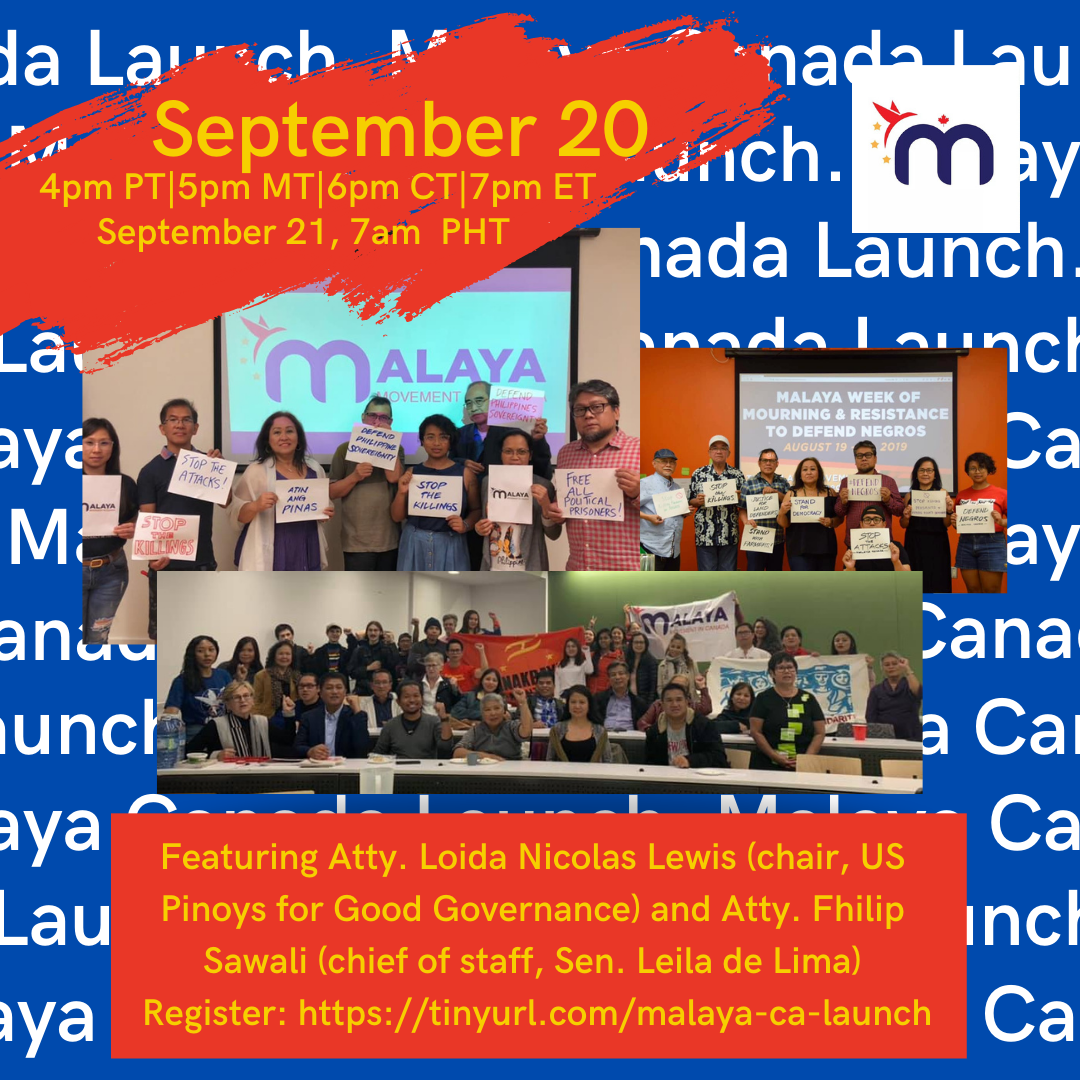 """PRESS RELEASE: Canada Filipinos for """"freedom"""" in the Philippines to hold online launch"""