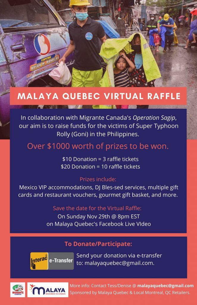 Malaya Quebec Fundraiser poster