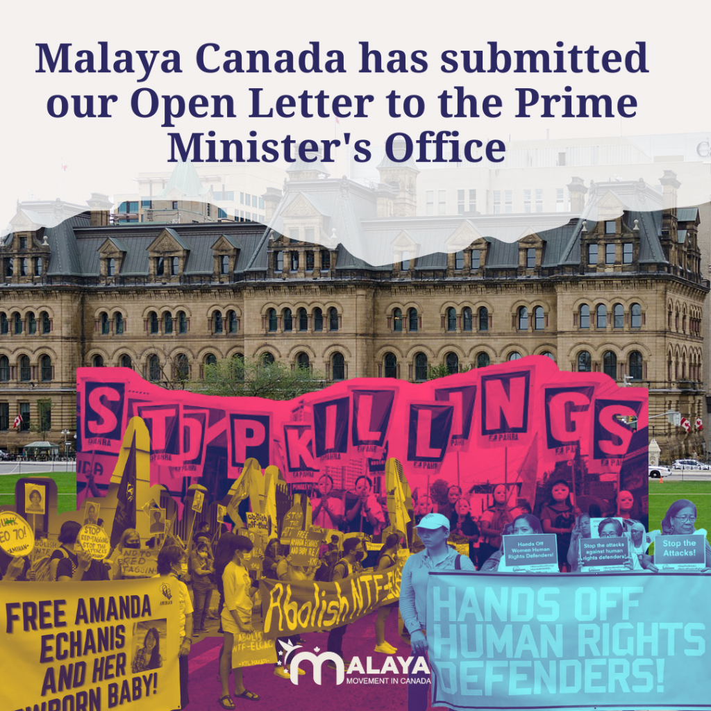 "Collage of Prime Minister's Office and Filipino Protestors. Text says ""Malaya Canada has submitted our Open Letter to the Prime Minister's Office."""