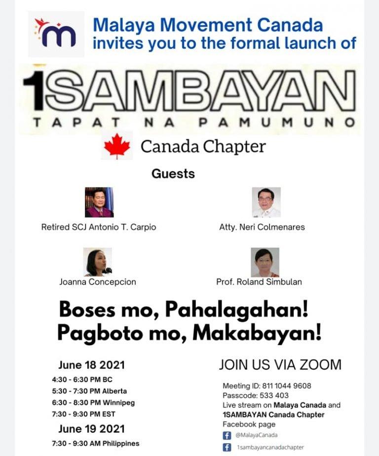 1Sambayan Canada Chapter Launch poster