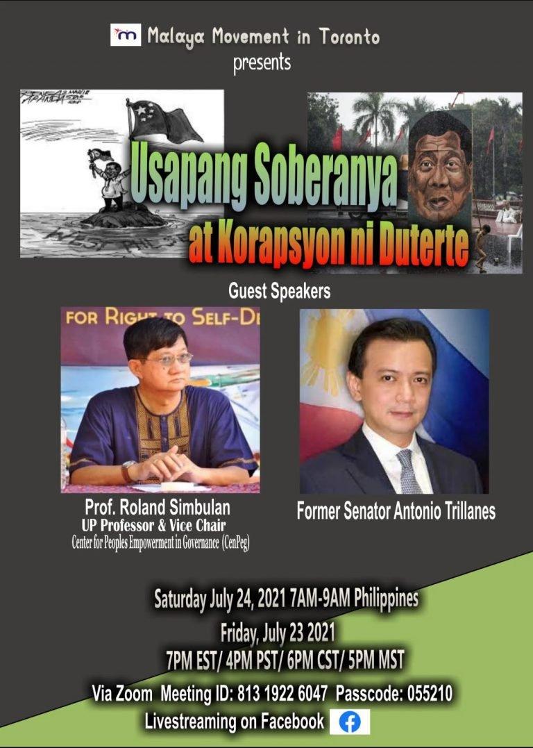 July 23 Malaya Toronto event poster